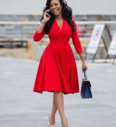 Afrikanische Frauen heißen Stil Temperament Sieben Minuten Ärmel solide Farbe Großer Rock Große Frau