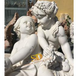 中国石の彫刻の工員の庭のための切り分けられた白い大理石の天使の彫像