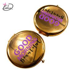 Кнопки двусторонняя изогнутые золотой макияж складывания наружного зеркала заднего вида, портативный металлические зеркала заднего вида, свадебные поощрение малого наружного зеркала заднего вида