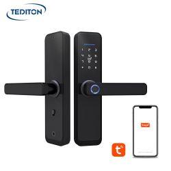 Tuya WiFi Smart APP Cerradura biométrica cerradura de puerta de la empuñadura de puerta sin llave de huellas digitales de bloqueo de seguridad
