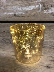 Voyant LED en verre double paroi coupe avec la couleur champagne
