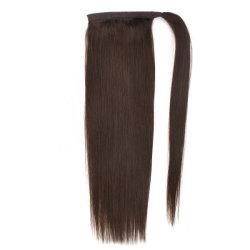 18-polegadas rabo-de cabelo humano melhor Virgem Remy Hair castanho chocolate reta de seda única fábrica desenhado por grosso de acessórios de cabelo de alta qualidade