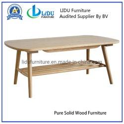 側面の木製のコーヒーテーブル、チークの棚が付いている木製のルート家具ライトカシのコーヒーテーブルのオスカーのカシのコーヒーテーブル