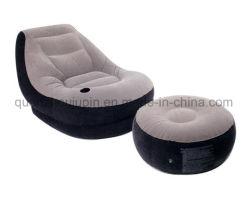 Footstoolが付いているOEM PVCホームスエードの膨脹可能なソファー