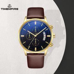Aço inoxidável cronógrafo relógio de pulso com alça em couro (72914)