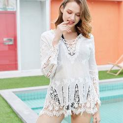 Weißes Farben-Strand-Kleid-transparenter Spitze-Badebekleidungs-HäkelarbeitBeachwear