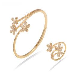 Venda por grosso de flores de abertura projeta Bangle Bangles Mulheres Rose Gold