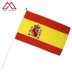 14x21см Испания стороны развевается флаг с деревянными полюс