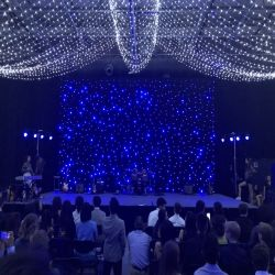 Blauwe en Witte LEIDEN Door sterren verlicht Gordijn voor de Partij van het Stadium van het Huwelijk