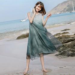Commerce de gros fournisseur d'usine robe en soie robe longue des femmes dame