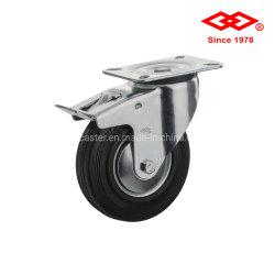 75mmの産業黒いゴム製足車の車輪(P101-11D075X25S)