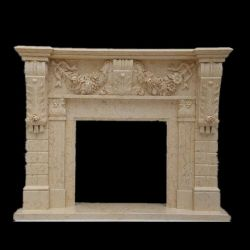 Salle de séjour classique cheminée en marbre calcaire Mantel