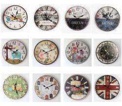 2016 Antique Hot-Sale décoratifs en bois coloré Horloge murale ronde