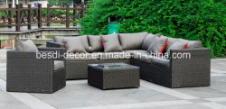 Jardín al aire libre el mimbre muebles de ratán sofá esquina salón económico establecido