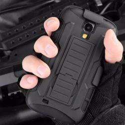Черный Ударопрочный гибридный жесткий футляр для Samsung Galaxy S4 I9500 случае зажим для ремня с чехлом стенд 2 в 1 тяжелый металл в будущем