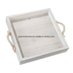 Het vierkante Houten Dienblad van het Huwelijk met Nieuwe het Idee van de Gift van Kerstmis van het Decor van het Huis van de Handvatten van de Kabel