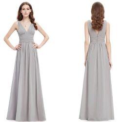 5XL Pluse 크기 숙녀 섹시한 V 목 Tulle 신부 들러리 복장 소매 없는 저녁 Prom는 성가대 복장을 옷을 입는다