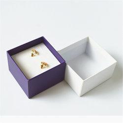 طباعة رومانسية مخصصة ورق لامع من نوع Purple White Hot Stamping Logo Glossy [إرّينغ] [كفّلنك] مجوهرات صندوق لعرس هبة يعبّئ