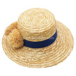 熱い販売の女性のための自然なRaffia POM POMのムギのわらの日曜日浜の帽子