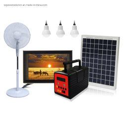 20W do Sistema de Iluminação Doméstica Solar com 3 lâmpadas LED FM e leitor de MP3, pode executar DC TV e ventilador para Afraic