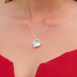 Colar pendente em forma de coração fino jóias para Garotas