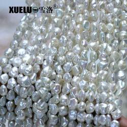 9-10mm AAA Qualität weiße natürliche kultivierte FrischwasserKeshi barocke Perlen-Zeichenketten (XL190008)