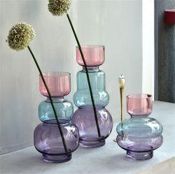 غرفة معيشة ذات ديكور حديث بسيط وفاخر من الزجاج المُبتكر مزهرية زجاجية شفافة للزهور