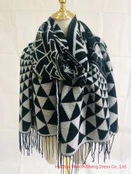 Mesdames abstraite en noir et blanc tissé de polyester, de l'écharpe en acrylique