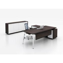CEO 사무용 가구를 위한 현대 Foshan에 의하여 주문을 받아서 만들어지는 가죽 L 모양 행정상 책상
