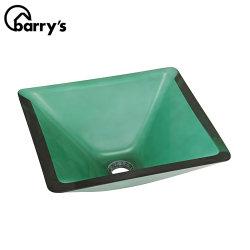 현대적인 욕실 수도꼭지 구멍 세면기 투명 강화 유리 용기 녹색 정사각형 싱크