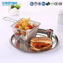 Heavybao Fried Chicken Burger freír patatas Rack Mostrar Cesta de alambre de metal