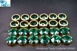 Il cristallo all'ingrosso cuce sui Rhinestones variopinti con la branca per gli accessori dell'indumento (Rotondo-Smeraldo)