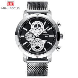 Mini-focus de la bande en acier inoxydable hommes montre-bracelet de quartz avec cadran noir