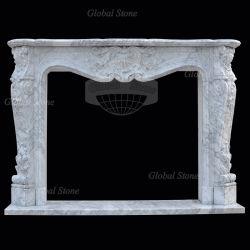 De aangepaste Open haard Van uitstekende kwaliteit van de Afdekplaat van de Steen Witte Marmeren (gsmf-215)