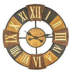 Runder Wooden&Metal Taktgeber mit geschnitzten römischen Zahlen