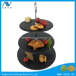 La pierre naturelle bac alimentaire la vaisselle de table ronde de l'Ardoise