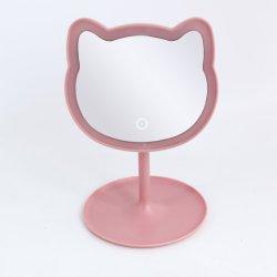 Nova Forma Creative Bonitinha Gato LED ajustável espelho de maquiagem de toque de tela do desktop com bandeja redonda