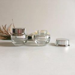 دورق زجاجي شفاف من الزجاج يبلغ وزنه 15 جم مع غطاء من الألومنيوم الفضي