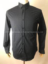 Stock Camisas de Manga Longa camiseta para o homem, 98% de algodão, 2% de spandex Poplin, Navy Blazer