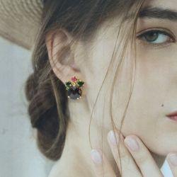 Стерлингов 925 Silver Earring с драгоценными камнями или латуни с кубической обедненной смеси и для женщин с золотым покрытием