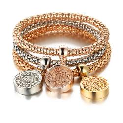 Mejor Venta de 3 colores Crystal Estrás Owl encanto palomitas de maíz de la mariposa elástica Chain Bracelet Chain Bracelet
