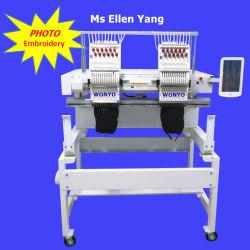 Sistema computadorizado de 2 Cabeças máquina de bordado comercial para a PAC/Tshirt/Sapatas/Tubular/Sequin/Gravação bordados