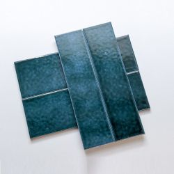 الحمام الجدار تصميم أخضر/أزرق خزفي مصنوع يدويا أنفاق البلاط 75X300/100X300