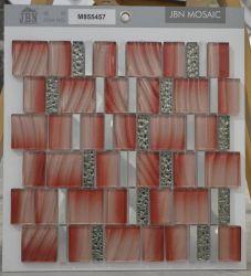 Painéis de parede de cor vermelho mosaico de vidro cristal