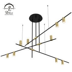 Proyecto Hotel largo lámpara colgante lámpara de araña de aluminio