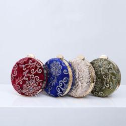 Cordão artesanais Retro bordados feitos à mão Banquetes Embreagem Bagladies pequeno saco Redonda Noite Messenger Bag Bolsa de casamento