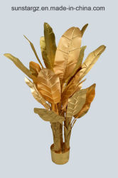 Pianta artificiale dell'albero di banana dell'oro conservata in vaso per la decorazione (51106)