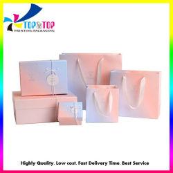 Confezione regalo cosmetica in cartone rigido con base e coperchio rosa personalizzato Scatola di carta con sacchetti Produttore