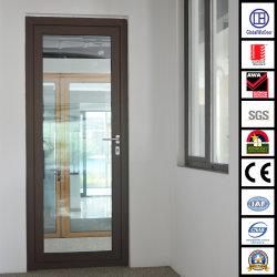 Алюминий/алюминиевый внутренних дел закаленного стекла распашной двери поворотного механизма
