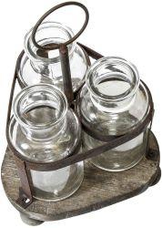 Flor de vidro vaso com Vintage Rack de madeira Vidro Suporte de vaso de flores para decoração de mesa
